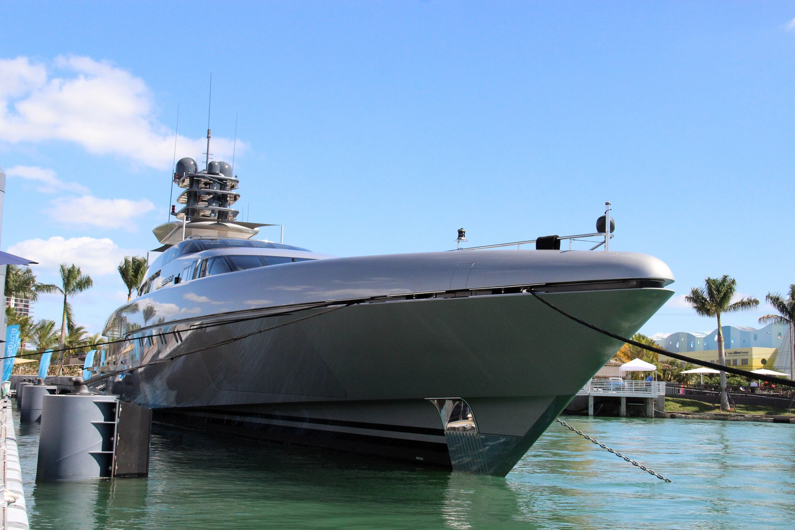 253-foot M/Y Silver Fast at Yachts Miami Beach. Photo by Suzette Cook