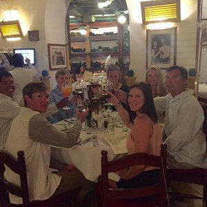 CHEERS TO COLOMBIA: The crew of M/Y Dorothea toast during dinner at La Vitrola in Cartagena, Colombia. (from left) Mate Josh Heater, Deckhand Mike Torres, Engineer Aaron Drake, Stew Jamey Harrison, 1st Mate Jenifer Mosley, Captain John Crupi and Stew Jess Thomson. PHOTO PROVIDED