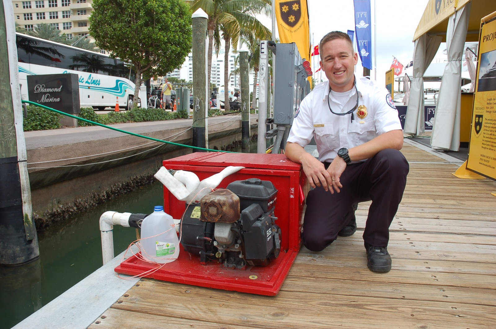 Lt. Evan Prentiss, of the Miami Beach Fire Department, has worked on the docks during the Yachts Miami Beach show for the past 11 years. PHOTO BY DORIE COX