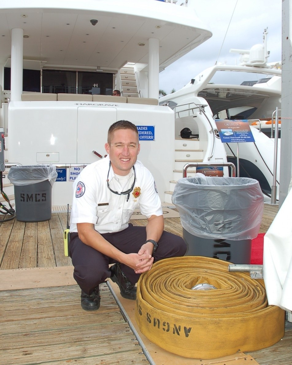 Lt. Evan Prentiss, of the Miami Beach Fire Department during the Yachts Miami Beach show. Photo by Dorie Cox