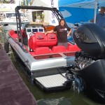 Allen Barre, president of Carbon Marine, shows the Paragon 28 Super Sport during the Palm Beach International Boat Show. Photo by Dorie Cox