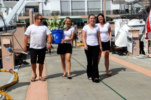 Yacht crew prep for Palm Beach International Boat Show