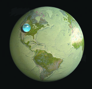 Vast oceans are actually thin layers covering the globe