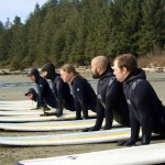 Novice surfers in much-needed wet suits take lessons before testing the waves. PHOTO/Relic Surf Shop