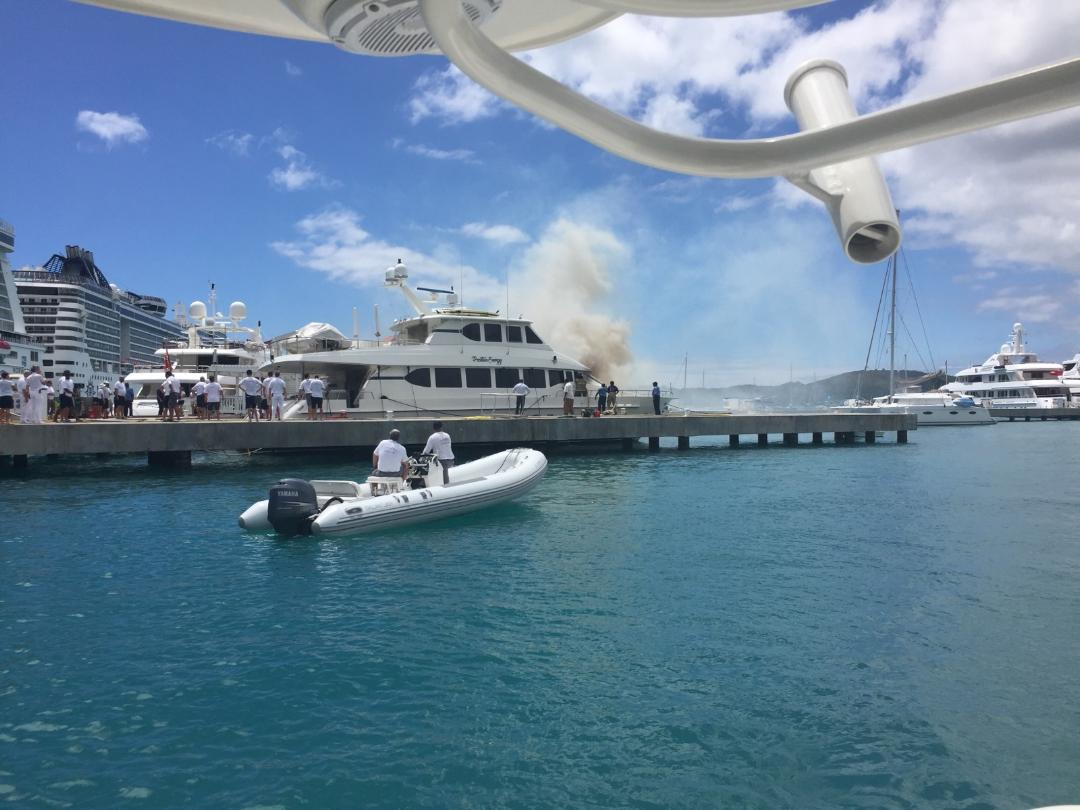 Smoke coming from yacht.
