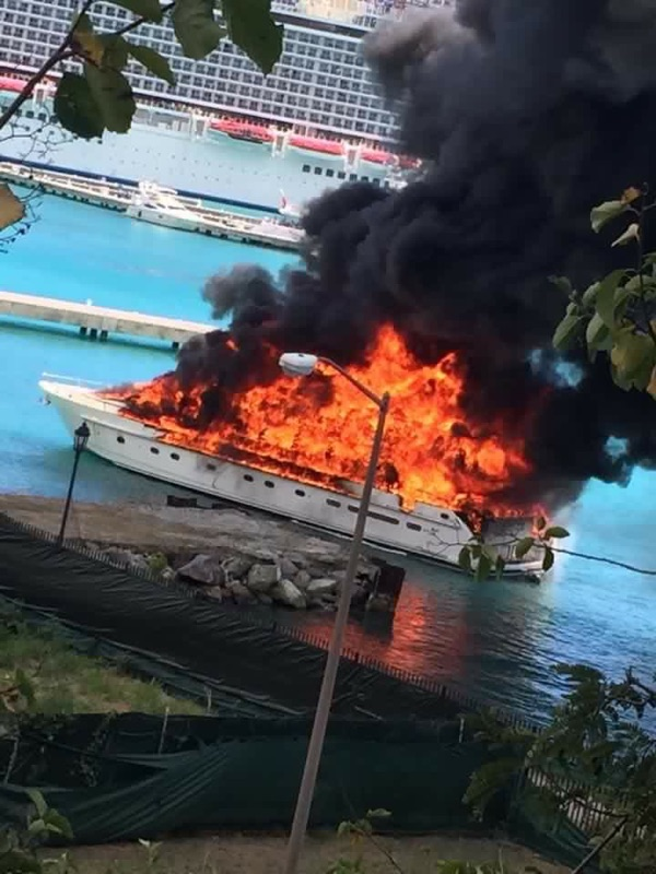 Yacht on fire in St. Thomas, USVI