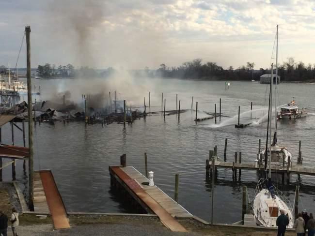 Fire at Virginia marina in Urbanna. (Bill Allanson)