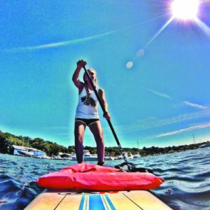 Inflatable paddle board fits in your crew space