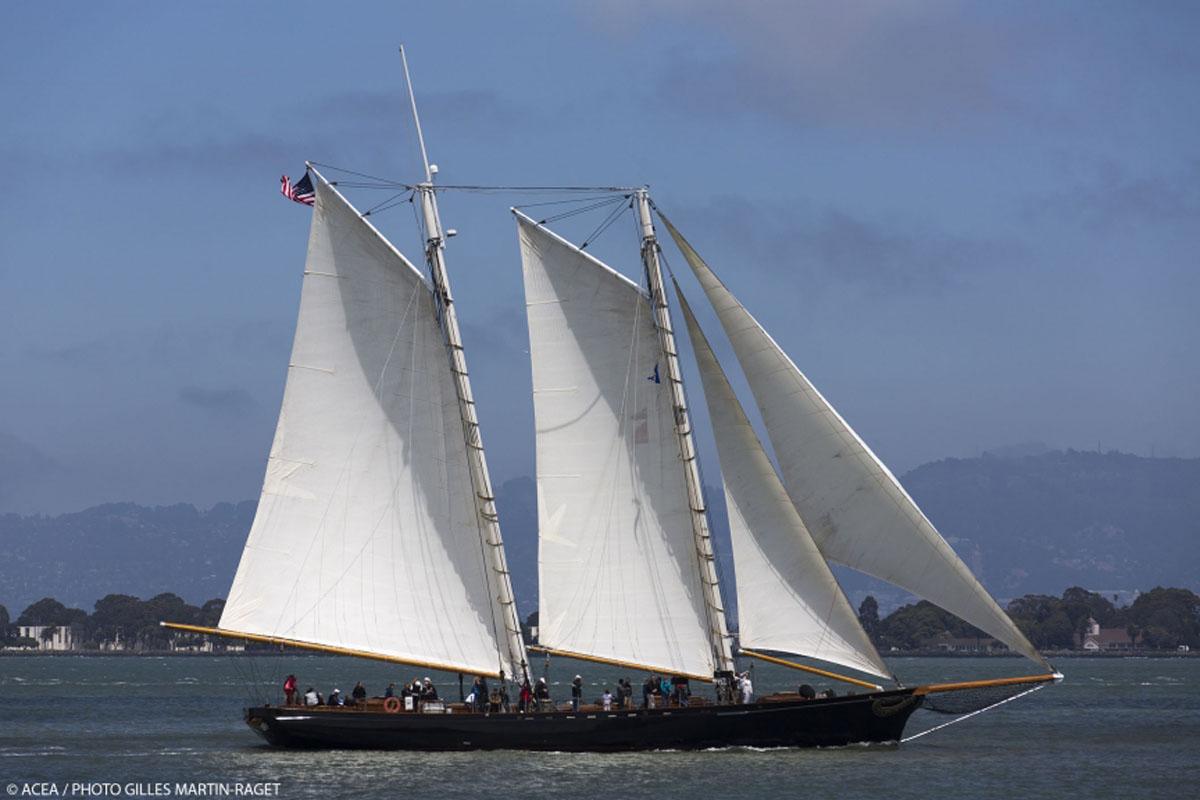 14/07/2013 - San Francisco (USA,CA) - 34th America's Cup - Louis Vuitton Cup - Round Robin - Race Day 5 - ETNZ Vs Artemis Racing (DNS) - A replica of the schooner America