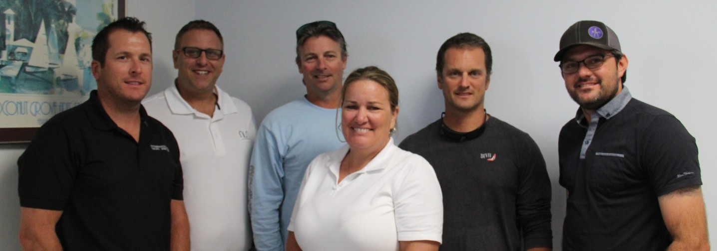 """Attendees of The Triton's June From the Bridge luncheon were, from left, Capt. Ben Schmidt, Capt. Phil Taylor of M/Y Nisi, Capt. Andrew """"Hutch"""" Hutchins of M/Y Misunderstood, Capt. Veronica Hast currently looking, Capt. HF """"Pancho"""" Jimenez of M/Y Diva and Capt. Jason Halvorsen of M/Y Marcato (formerly M/Y Copasetic). PHOTOS/SUZETTE COOK"""