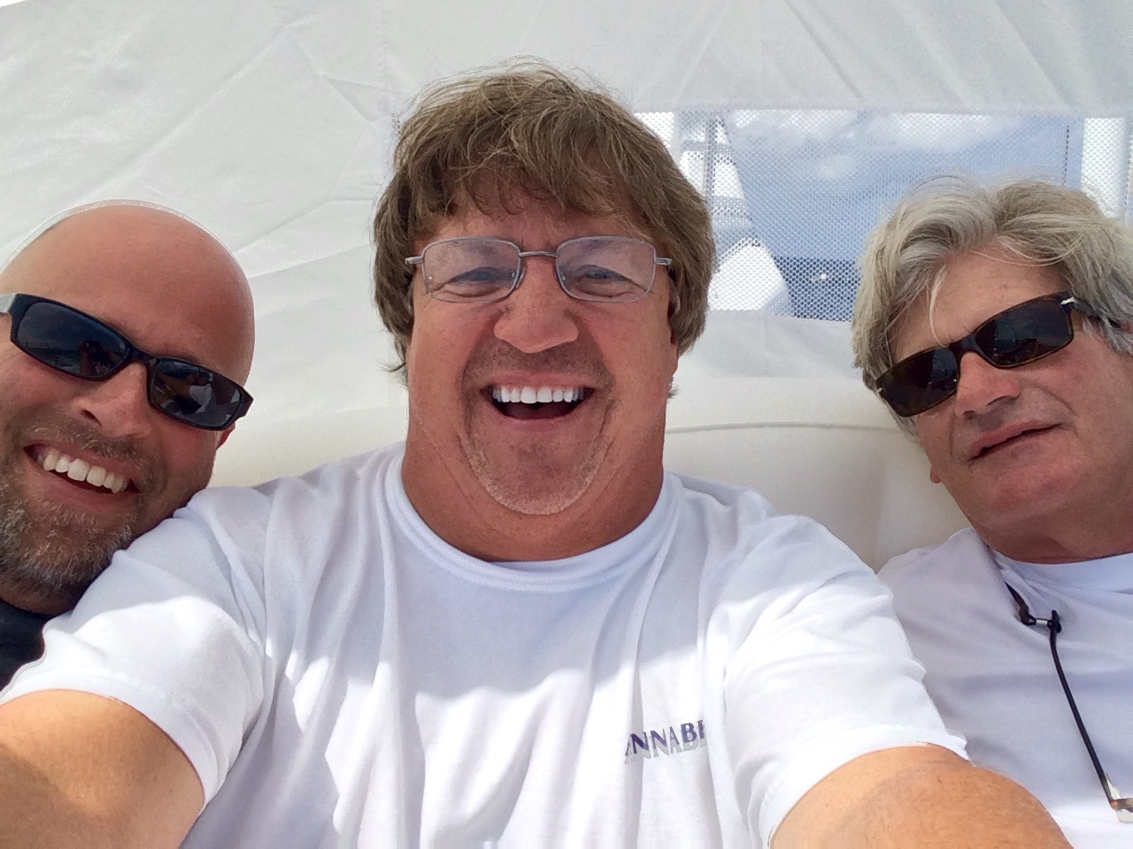 Bill Morong, David Lacz (taking the photo) and Maldwin Drummond while at sea during the delivery from Florida the afternoon before Mr. Lacz' death. PHOTO FROM MALDWIN DRUMMOND.