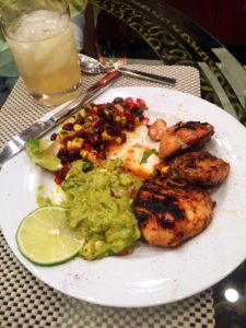 Grilled tequila lime chicken with black bean and corn salad