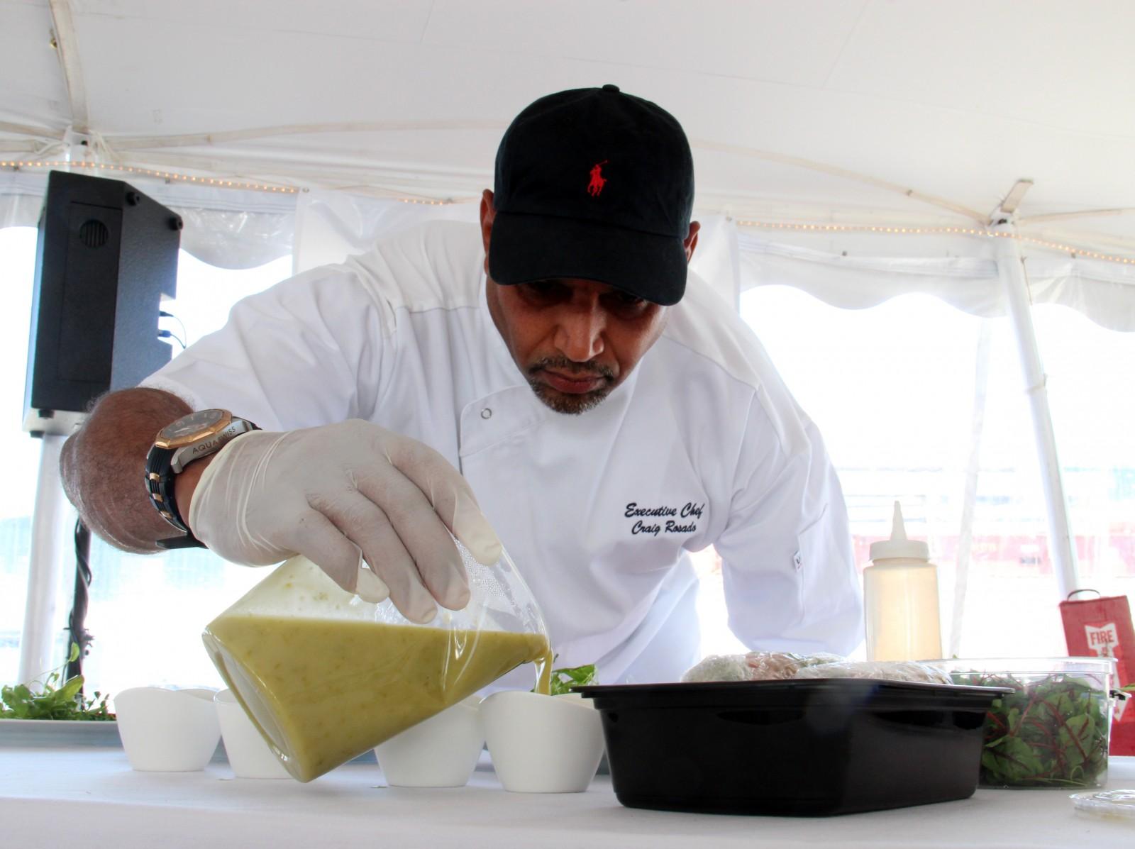 M/Y Siete Chef Craig Rosado prepares his dish.
