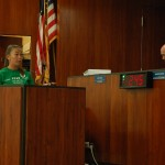 Megan Lagasse, general manager at Bahia Mar Marina, adresses the Fort Lauderdale City Commission. PHOTO BY DORIE COX