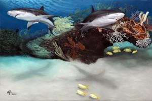 """Caribbean Reef Sharks"" painting by Diver and Artist Alan Feldmesser. www.alanfeldmesser.com/"