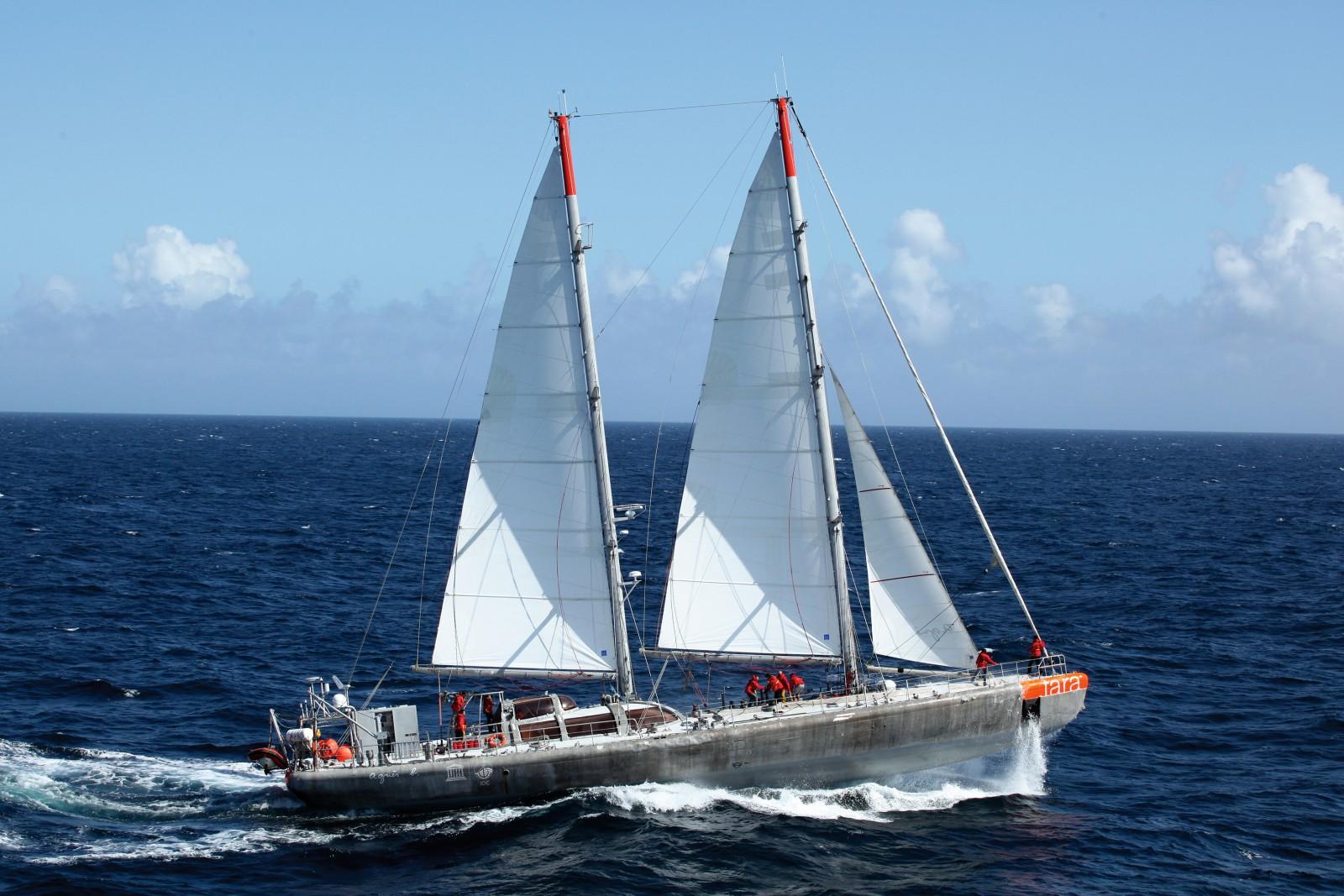 S/Y Tara under full sail. PHOTO/COPYRIGHT 2016 TARA EXPEDITIONS