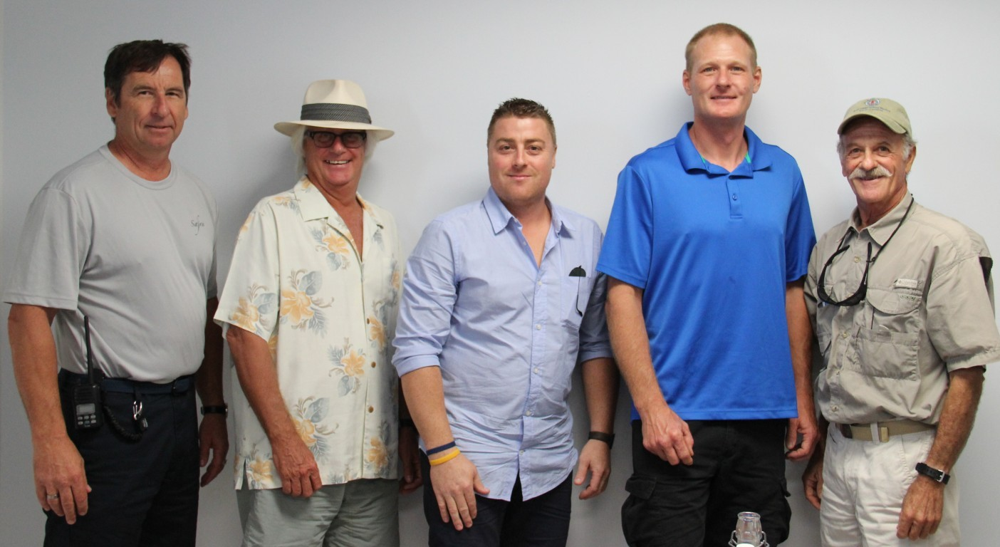Attendees of The Triton's August From the Bridge lunch were, from left, Capt. Kent Kohlberger of M/Y Safira, Capt. Norm Treu of S/Y La Perla, Capt. Hristo Gyaurov formerly of M/Y Element Ta, Capt. Shepherd Dobson (freelance) and Capt. Clark Shimeall (freelance). Not pictured due to a yacht emergency is Capt. Janz Staats of M/Y Golden Compass, Perserverance II and Competitive Bid III. PHOTOS/SUZETTE COOK