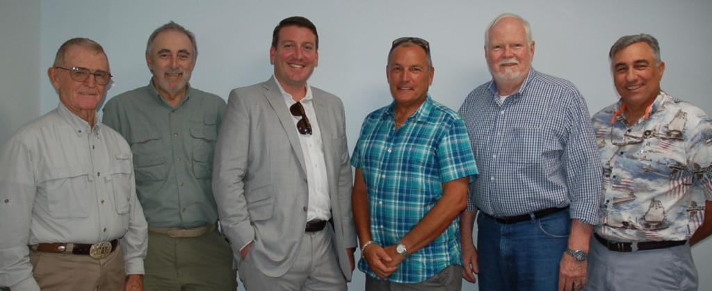 Attendees of The Triton's September From the Bridge luncheon were, from left, Capt. Larry Hastings of M/Y Buck Passer, Capt. Bob Moulton of M/Y Comanche, Capt. Parker Stockdale of M/Y Anodyne, Capt. Greg Clark of M/Y D'Natalin IV, Capt. Rusty Allen of M/Y Natita and Capt. Paul Stengel of M/Y FAM. PHOTO/DORIE COX