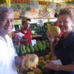 Cuban yacht agent Plácido Vega and M/Y Fortuna Chef Maree pick up provisions at a fruit and vegetable market in Havana. PHOTO/CAPT. TODD RAPLEY