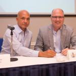 A. Joel Walton, CEO of Cayman Registry (left), and Capt. John K. Hafner, vice president, seafarer manning and training of the Republic of the Marshall Islands (RMI) Registry.