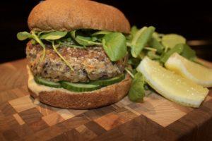 Mushroom Quinoa Burger. Photo by Mark Godbeer