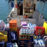 M/V Ecomer is loaded with food donations for the 16th Yachts du Coeur to be held on Sept. 18 in Cannes. Photo from Jean-Luc Annone