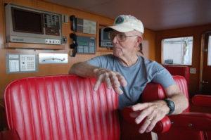 Capt. Larry Hastings on the bridge of M/Y Buckpasser. PHOTO/DORIE COX