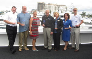 Most of the original team that founded the U.S. Superyacht Association 10 years ago. PHOTO/LUCY REED