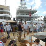 Brokers and crew welcomed lots of guests onboard around the boat show this week. PHOTO/DORIE COX