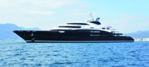 134m Serene runs aground, bow-up on rocks