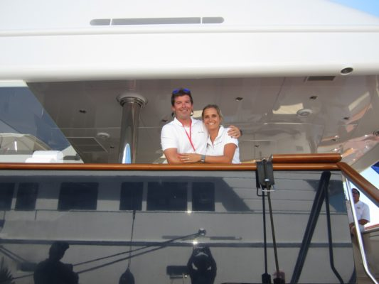 Miami18:Crew at work on opening day of Miami Yacht Show