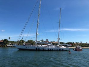 Sailing yacht Ethereal afloat after grounding in Fort Lauderdale
