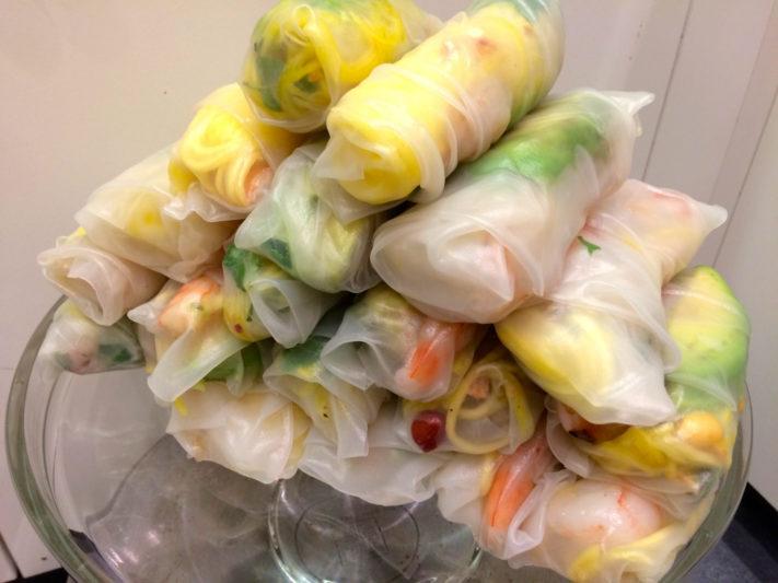 Top Shelf: Rice paper rolls with green mango, shrimp and avocado