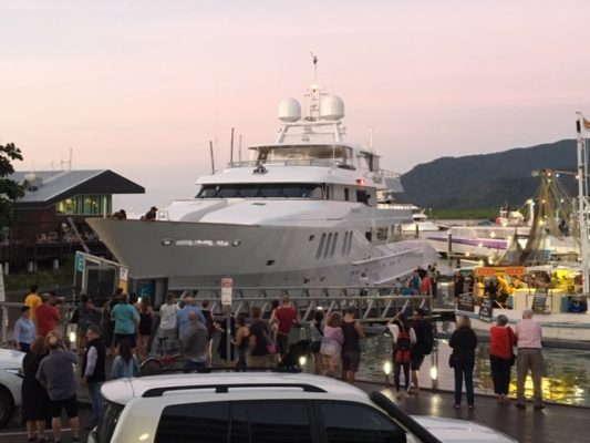 Yacht Moatize hits dock in Cairns