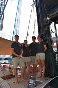 Monaco19: Tied down and gimballed, S/Y Lush crew at work for the sail of it
