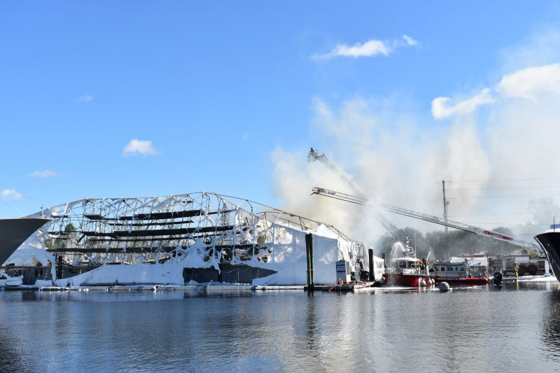 Yachts Lohengrin and Reflection burn at Universal Marine Center in Fort Lauderdale