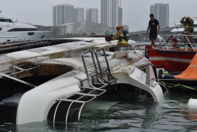 Yacht Andiamo burns at Island Gardens marina in Miami