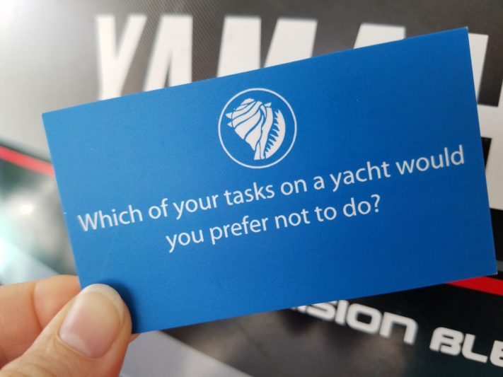 Which of your tasks on a yacht would you prefer not to do?